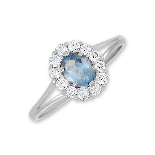 Zásnubní prsten s barevným kamenem