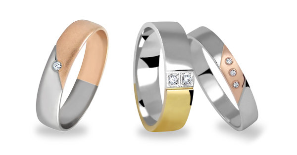 Prstýnky ze dvou barev zlata